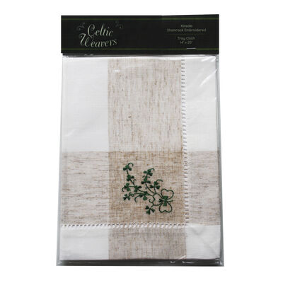 Celtic Weavers Kinsale Shamrock Embroidered Tray Cloth 14X 20