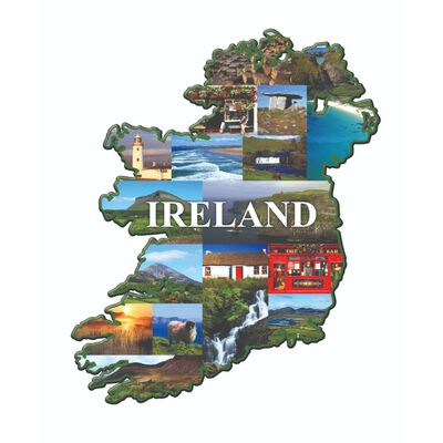 Ireland-Shaped Wooden Magnet With Irish Scenes And Ireland Sign
