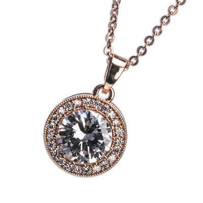 Newgrange Living Rose Gold White Stone & Diamante Necklace