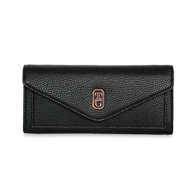 Tipperary Crystal Black Envelope Style Ladies Wallet With Gold Hardware