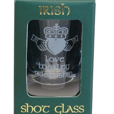 Boxed Irish Shot Glass With Irish Claddagh Design