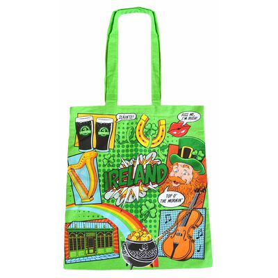 Ireland Pop Art And Irish Sayings Designed 100% Cotton Tote Shopping Bag
