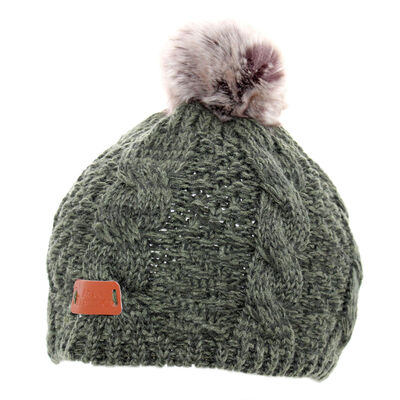 Knit Style Dark Green Tammy Hat With Faux Fur Bobble