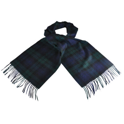 Carrolls Designs Black Watch Wool Scarf With Black  Blue and Green Tartan Design