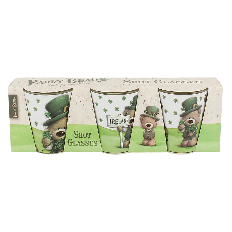 Three Pack Shot Glasses With Paddy Bear Design