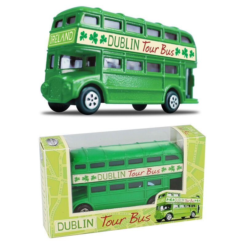 Die-Cast Dublin Tour Bus Model Replica with Shamrock Design and Open Top