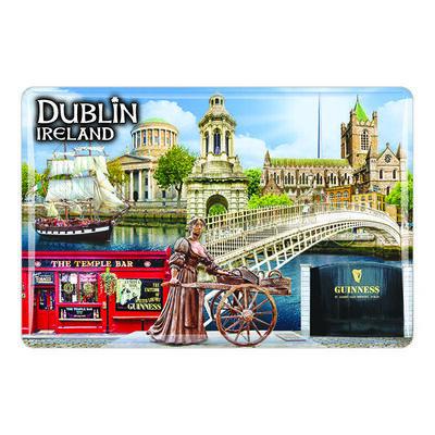 Irischer Dublin-Magnet aus Epoxidharz mit Collage aus Molly Malone  Ha'penny Brücke