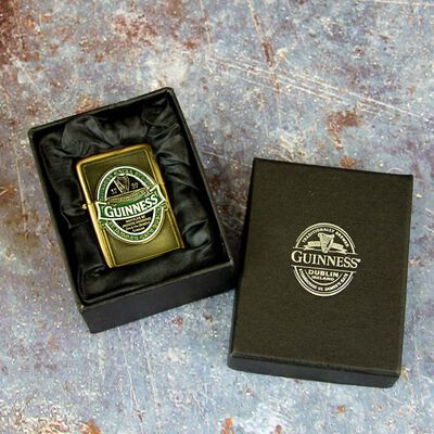 Official Guinness Wind-Proof Ireland Collection Oil Lighter With Engraving and Gift Box