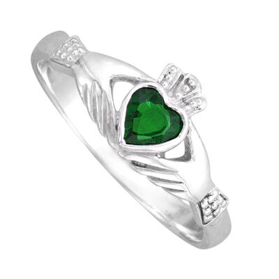 Hallmarked Sterling Silver Claddagh Ring With Cubic Zirconia Stone Presented In Box