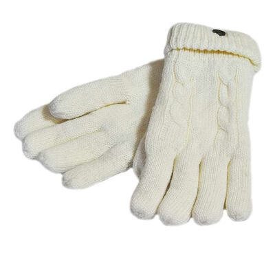 Man Of Aran Cable Knit Gloves With Embossed Metal Shamrock  Natural Colour