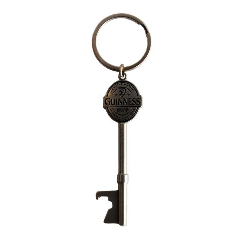 Guinness Silver Keychain With Key Shaped Design Bottle Opener