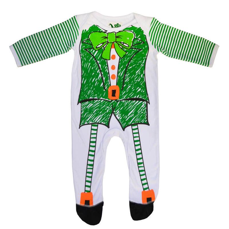White And Green Irish Leprechaun Sketch Designed Baby Romper