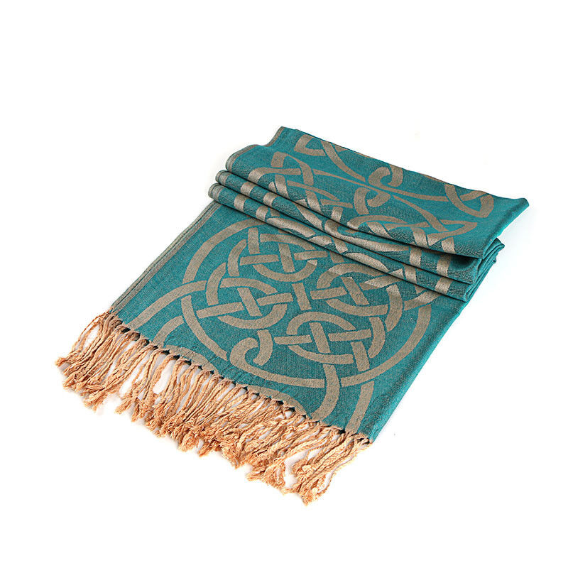 Irish Celtic Traditional Pashmina Scarf With Green Celtic Knot Design