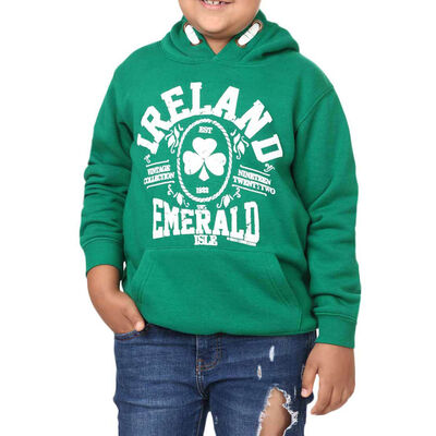 Kids Pullover Hoodie With Ireland Emerald Isle Design  Green Colour