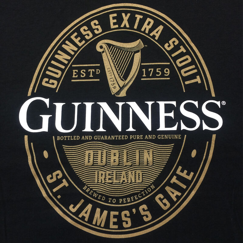 Guinness T-Shirt With Foreign Extra Label In Gold  Black Colour