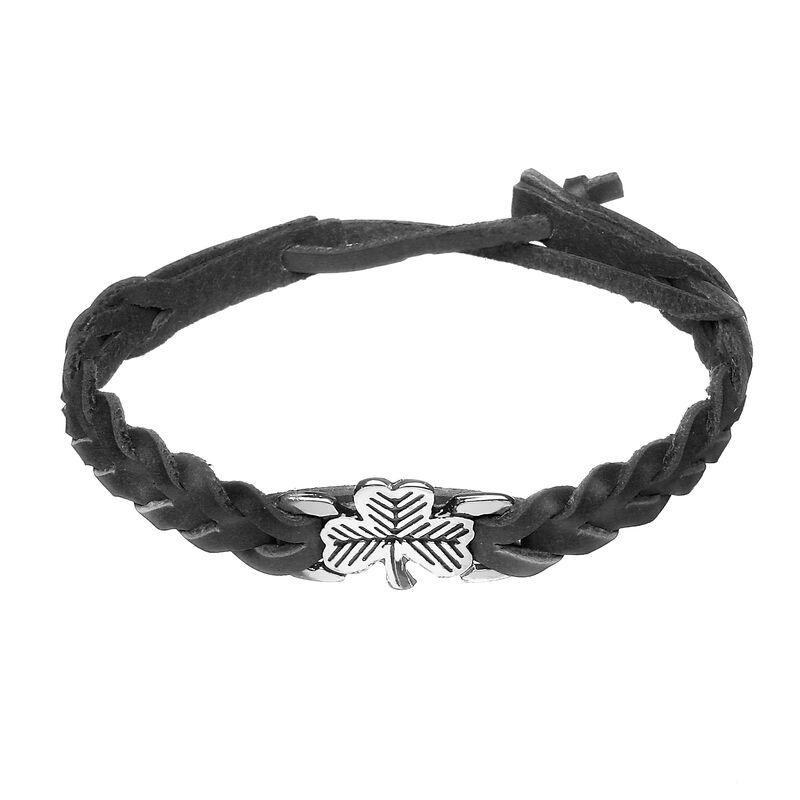 Black Leather Plaited Wristband with a Flat Silver and Black Shamrock Charm