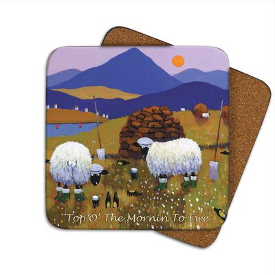 Irish Coaster With Sheep Out Farming With The Text 'Top O' The Mornin To Ewe'