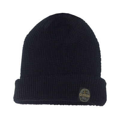 Guinness Label Knitted Beanie Turnup Hat Made By Recycled Plastic Bottles, Black Colour