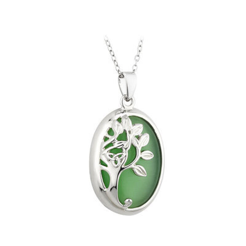 Rhodium Plated Tree Of Life Pendant With Cats Eye Shaped Leaves Rhodium Crystal