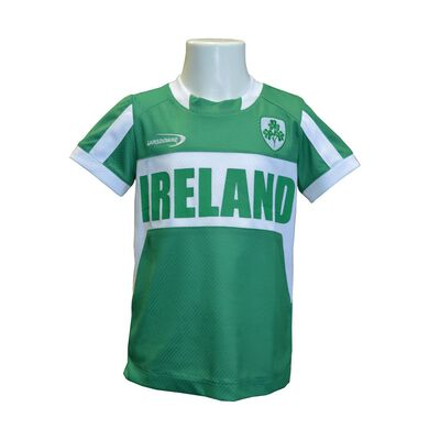 Kids Ireland T-Shirt With Shamrock Crest  Green And White Colour