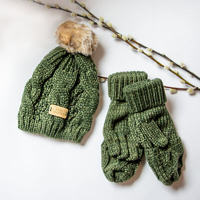 Junior Aran Mittens & Hat Bundle, Green Colour