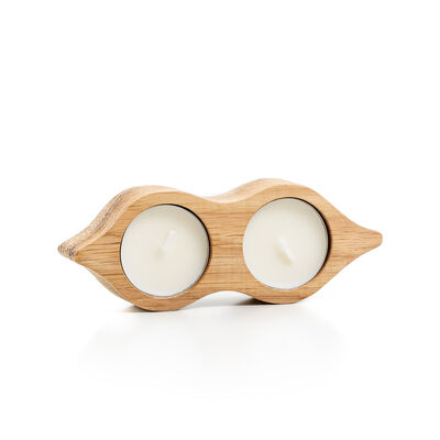 Sam Agus Nessa Peas In The Pod Tealight Candles With Wooden Holder