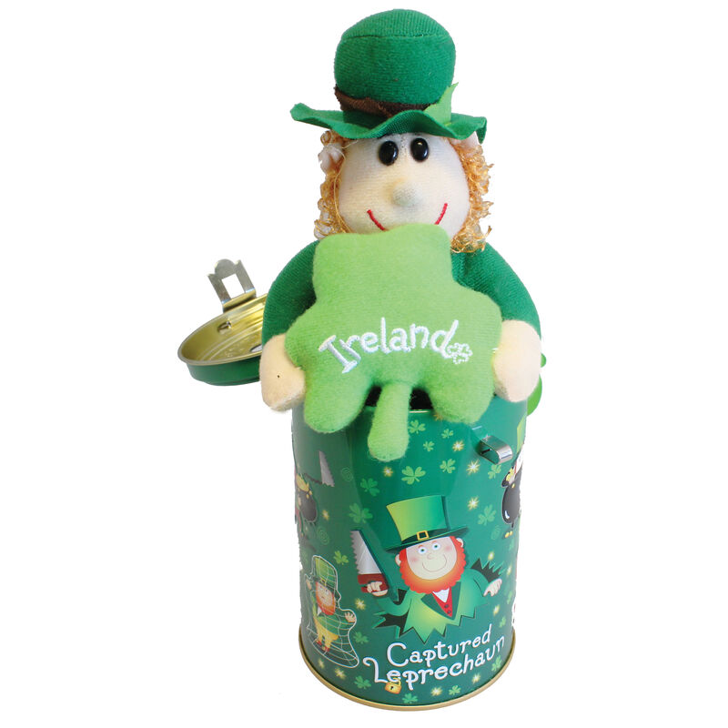 "5.5"" Captured Leprechaun Soft Toy In Moneybox Tin With Lock and Key"