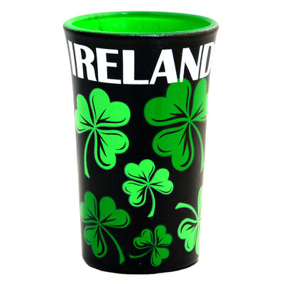 Black Shot Glass With Green Shamrock Design and White Irish Text