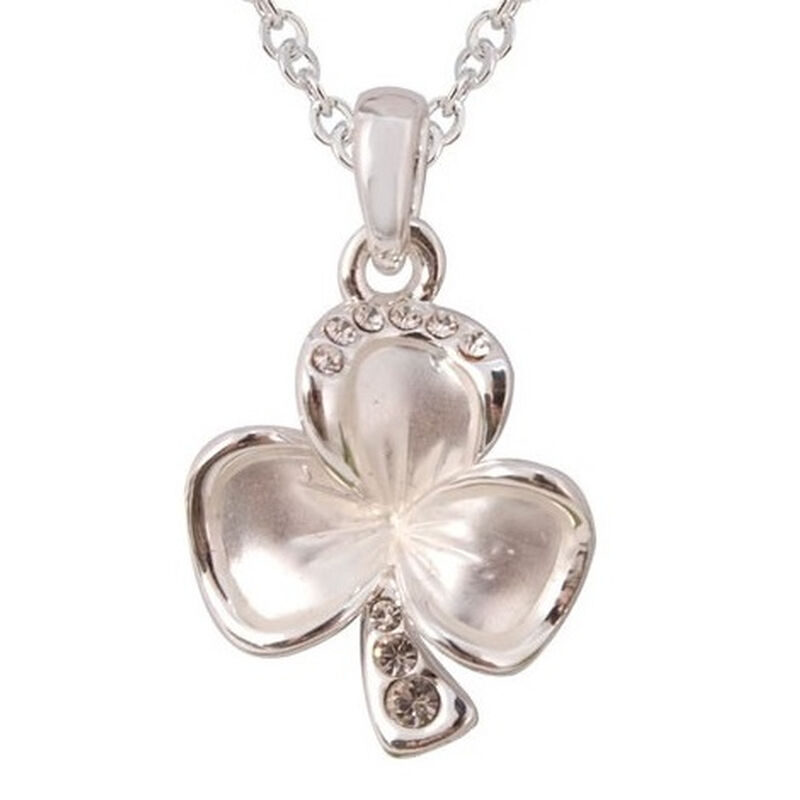 Silver Plated Shamrock Leaf Pendant With Diamante Detail