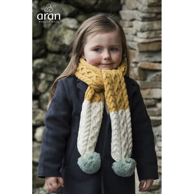 Children'S Yellow And Cream Cable Knitted Scarf With Blue Pompom