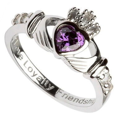Hallmarked Sterling Silver Claddagh February Birthstone Ring