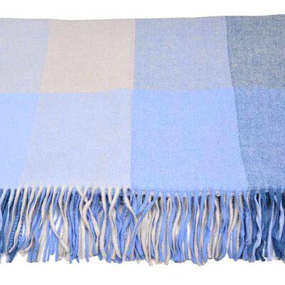 Aran Woollen Mills Soft Alpaca Wool Irish Blanket  Blue In Colour