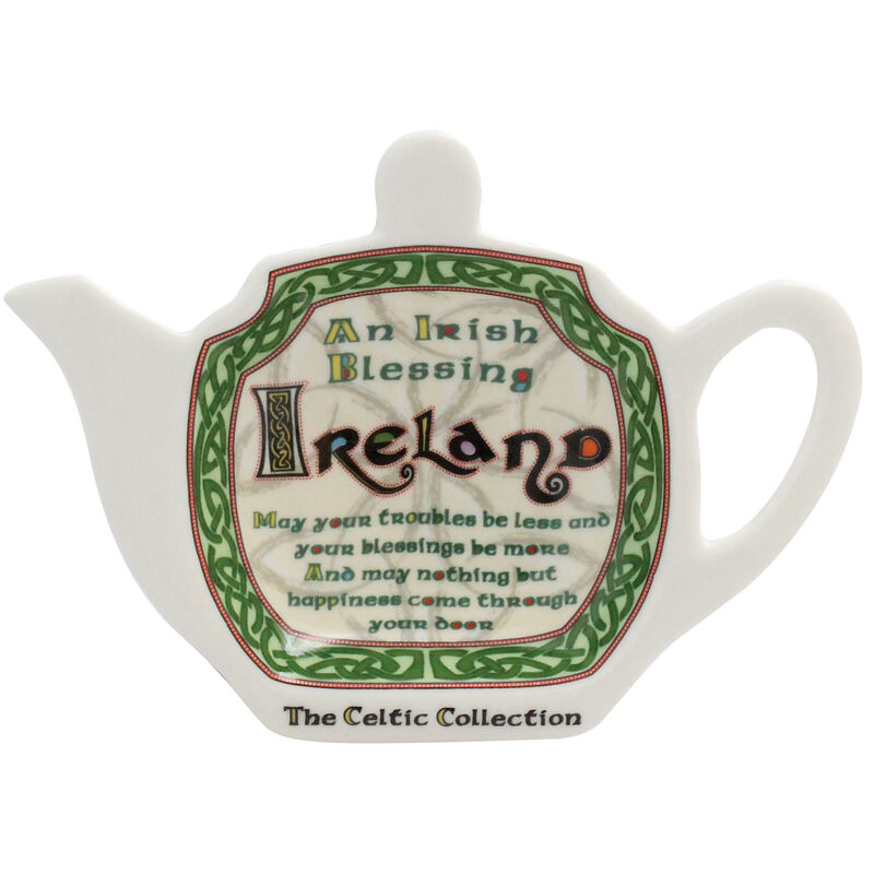 Celtic Collection Ceramic Tea Bag Holder With Irish Blessing