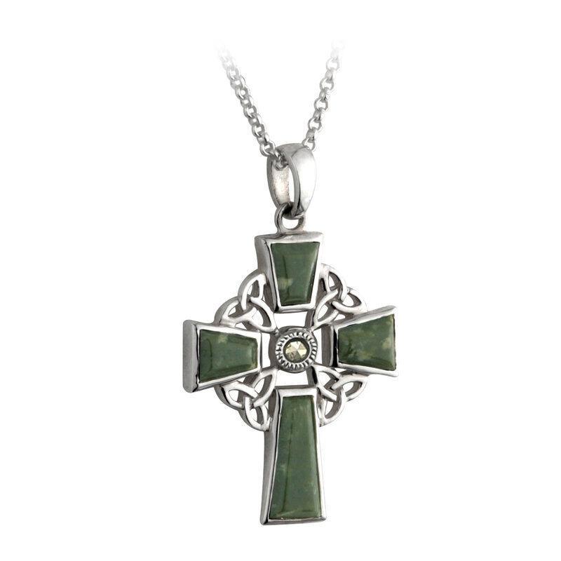 Hallmarked Sterling Silver Celtic Cross Connemara Marble Pendant