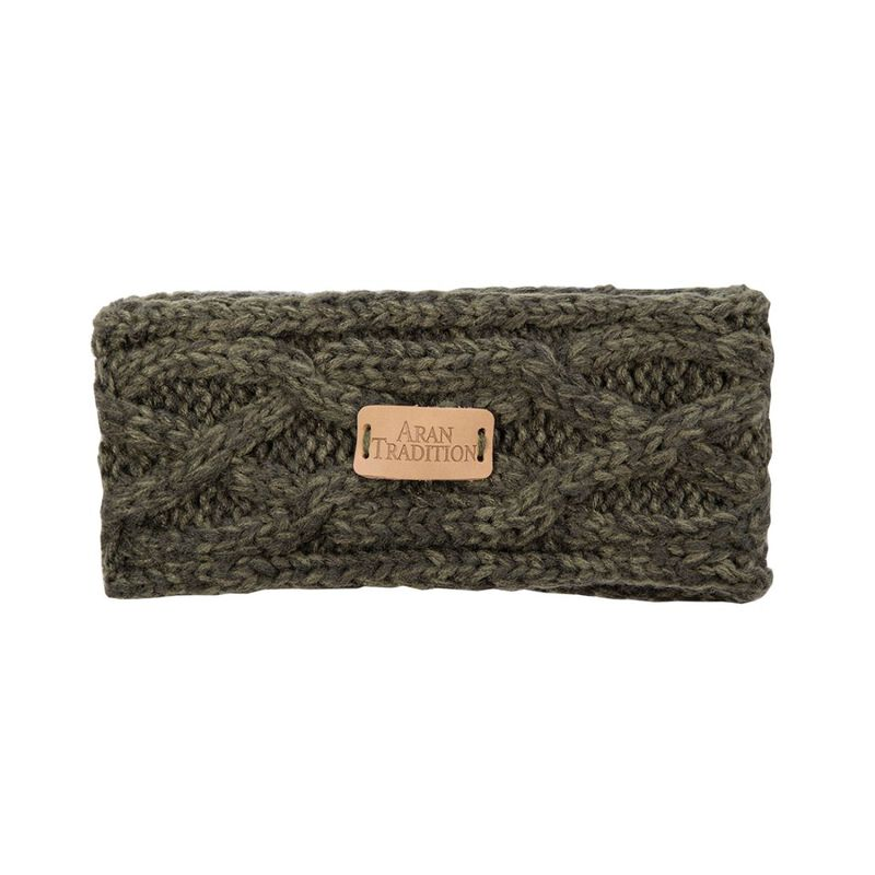Kids Aran Knitted Traditional Cable Pattern Headband  Dark Green Colour