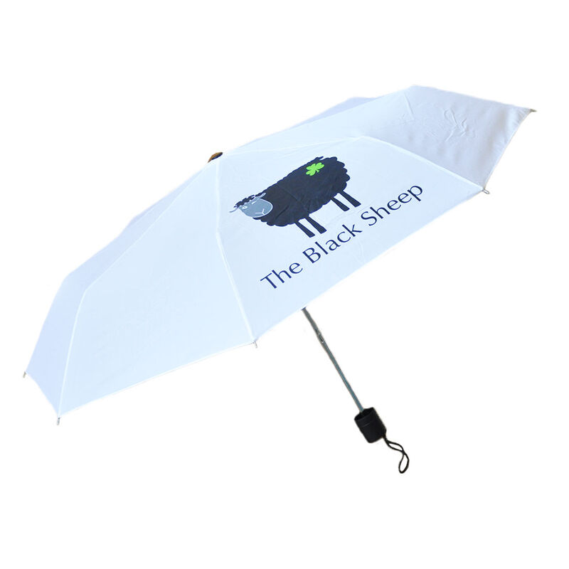 White Coloured Umbrella With Black Sheep Design  100Cm Diameter