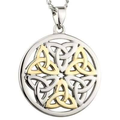 Two Tone Gold And Silver Celtic Trinity Knot Designed Pendant