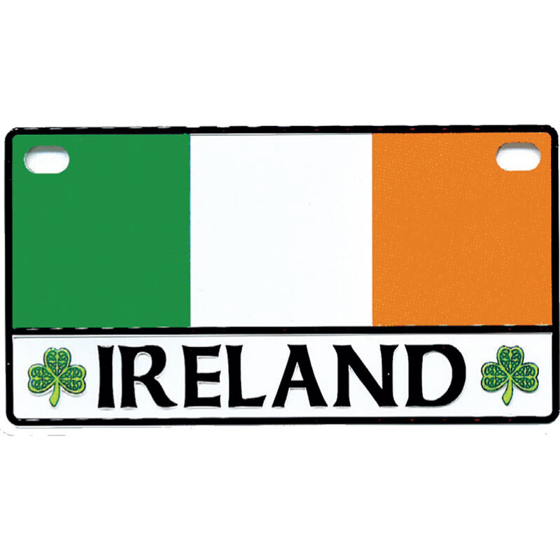 Tri Colour Reg Plate Magnet With Ireland Text And Shamrock Design