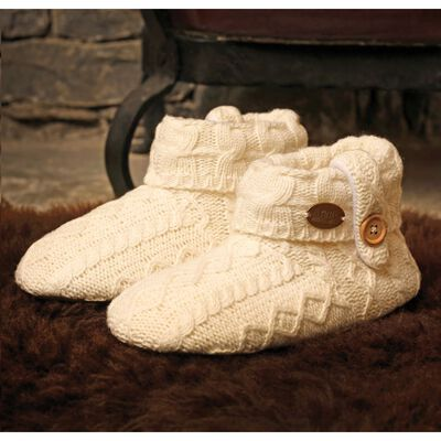 Aran Woollen Mills Kids Knitted Booties With Button  White Colour