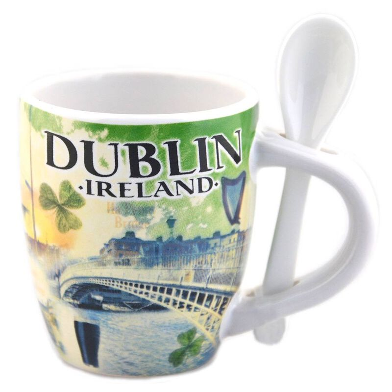 Small Ireland Mug And Spoon Set With Dublin Landmarks Design