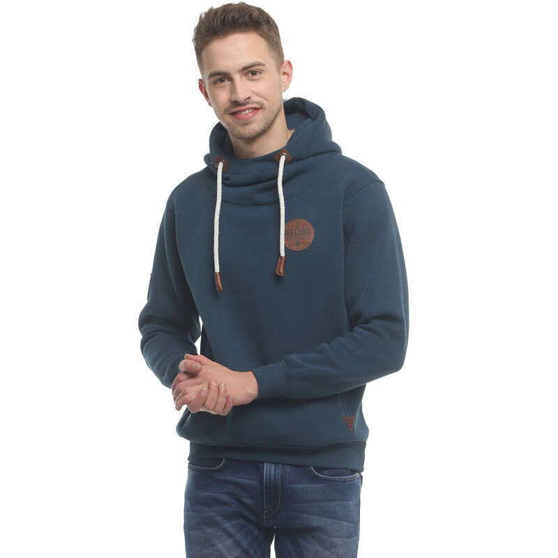 Navy Hoodie With Leather Patch Ireland Original Nineteen Sixteen Collection