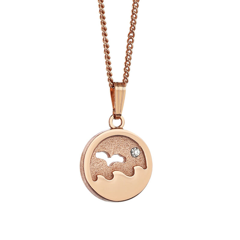 Newbridge Silverware Rose Gold Plated Pendant With Small Ocean Design