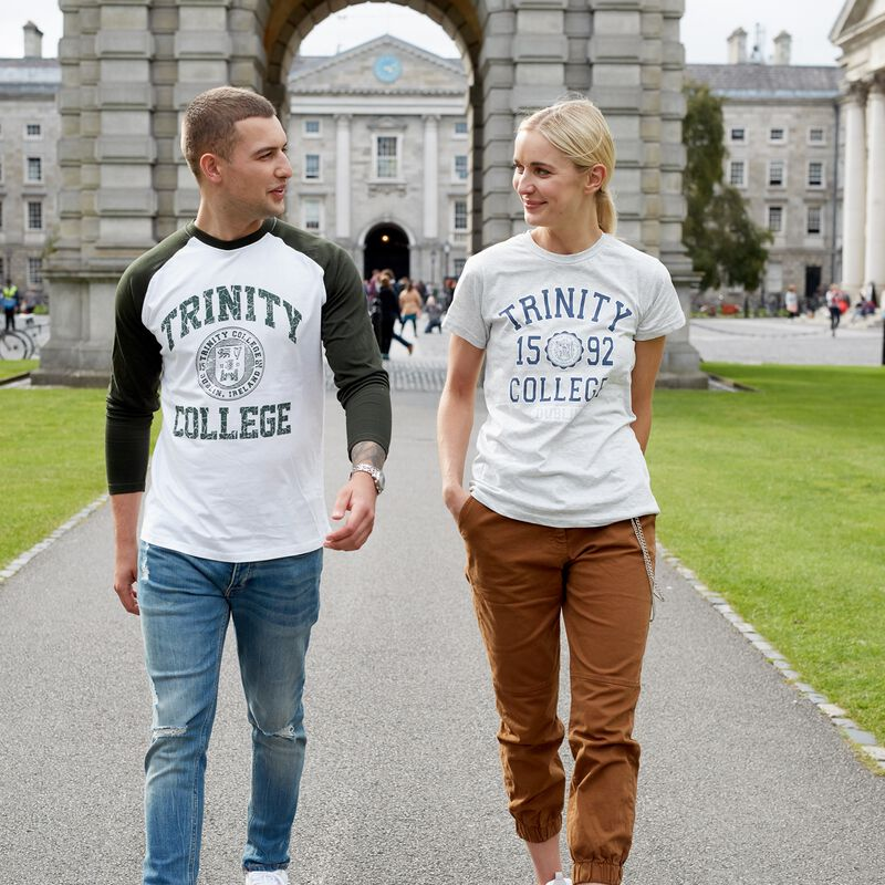 Trinity College Long Sleeved Shirt With College Seal Design  White And Green