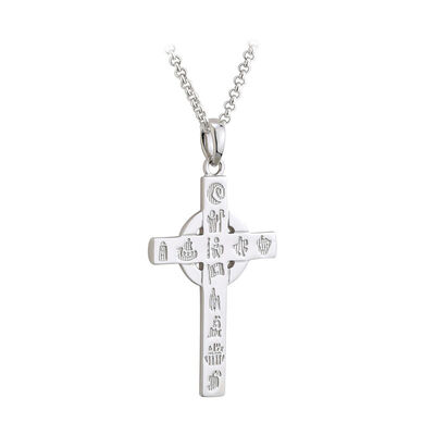 Hallmarked Sterling Silver History of Ireland Small Cross Pendant