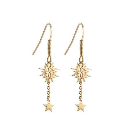 Gold Plated Amy Huberman Newbridge Silverware Drop Earrings with Sun and Stars Design