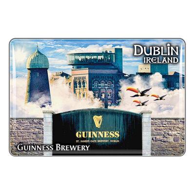 Guinness-Epoxid-Magnet – Montage aus Lagerhaus  fliegenden Tukanen und St. James's Gate