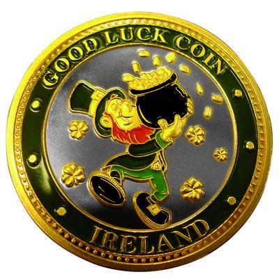 Sammler-Edition Glücksmünze mit buntem Kobold und Goldtopf