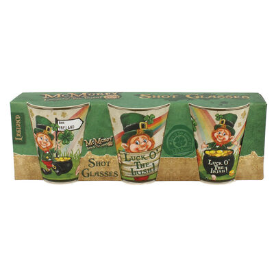 McMurfy Luck O' The Irish Leprechaun Designed 3 Pack Of Shot Glasses