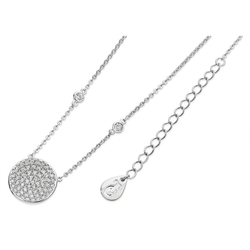 Tipperary Crystal Silver Concave Pave Moon Pendant, Comes With Gift Box