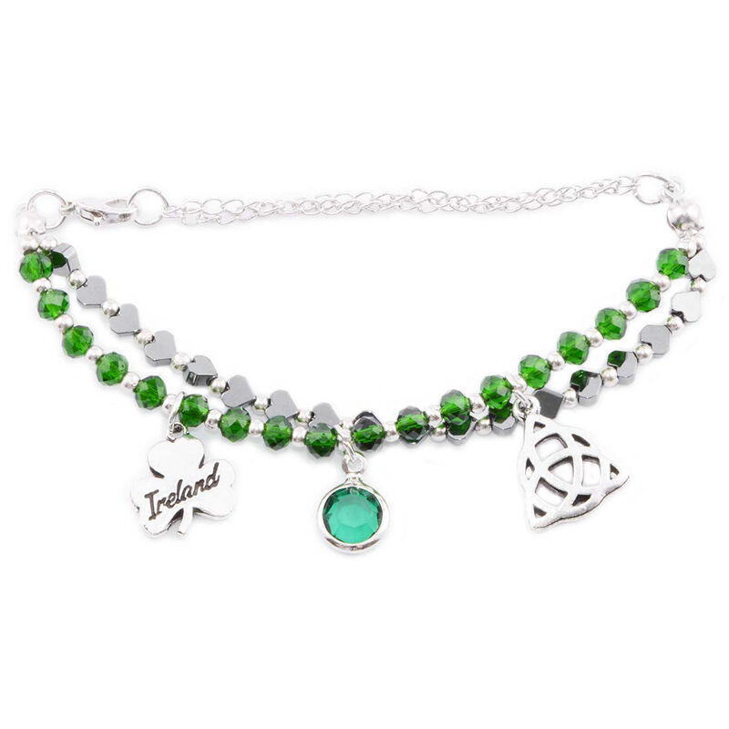 Trinity Knot and Shamrock Celtic Charm Multi Bead Bracelet